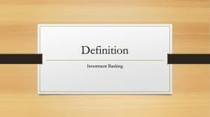 Investment Banking Definition Erklärung Was ist das
